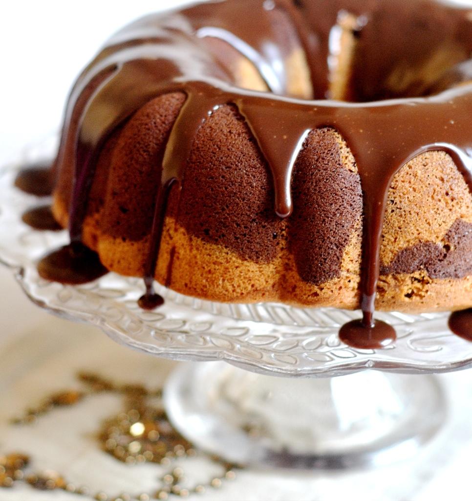 Vanilla & Nutella Marble Cake with Nutella Ganache