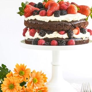 Chocolate Cake with Mascarpone Cream & Mixed Berries