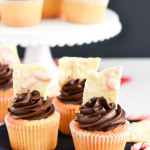 Chocolate Frosted Yellow Cupcake with White Chocolate Candy Cane Bark