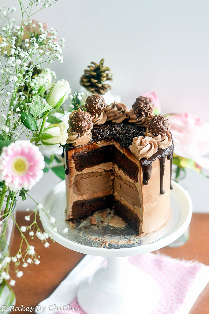 Chocolate Cheesecake Cake with Nutella Frosting