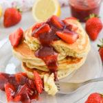 Lemon Pancakes with Strawberry Sauce