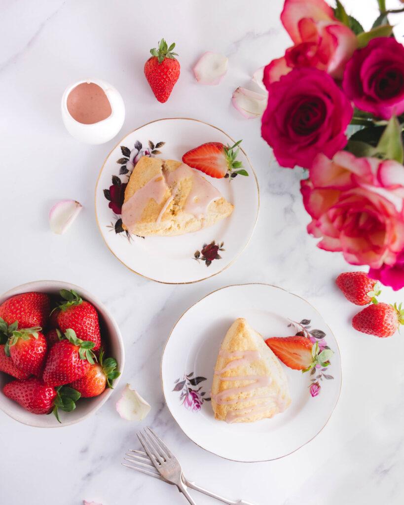 Strawberry Glazed Cream Tea Scones