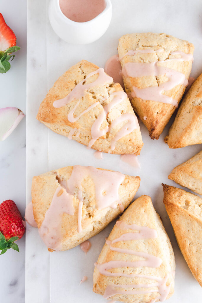 Strawberry Glazed Cream Scones