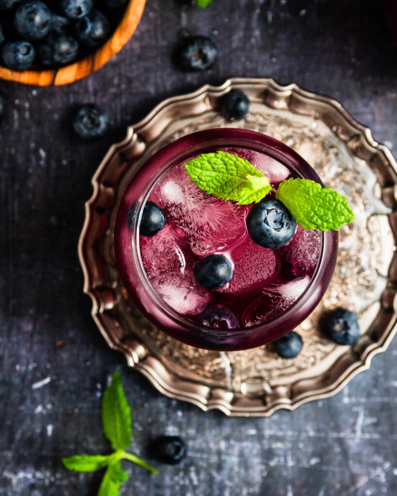 Blueberry Whiskey Smash Cocktail
