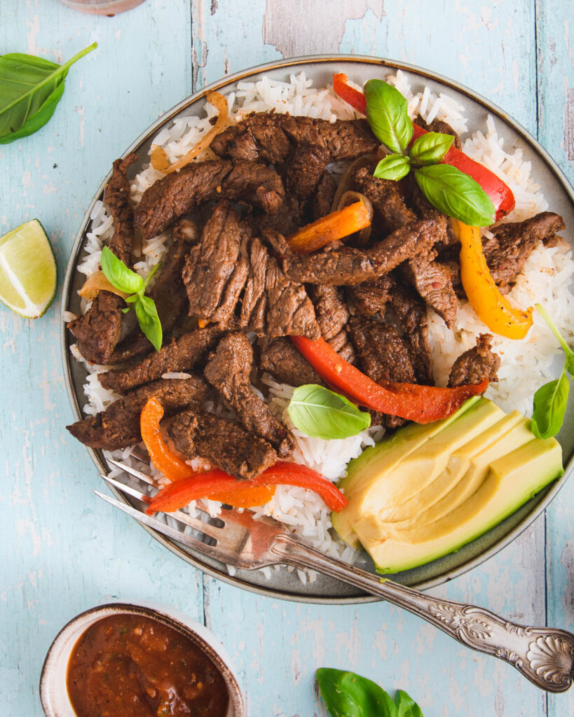 Tex-Mex Stir-Fry Steak with Rice and Peppers