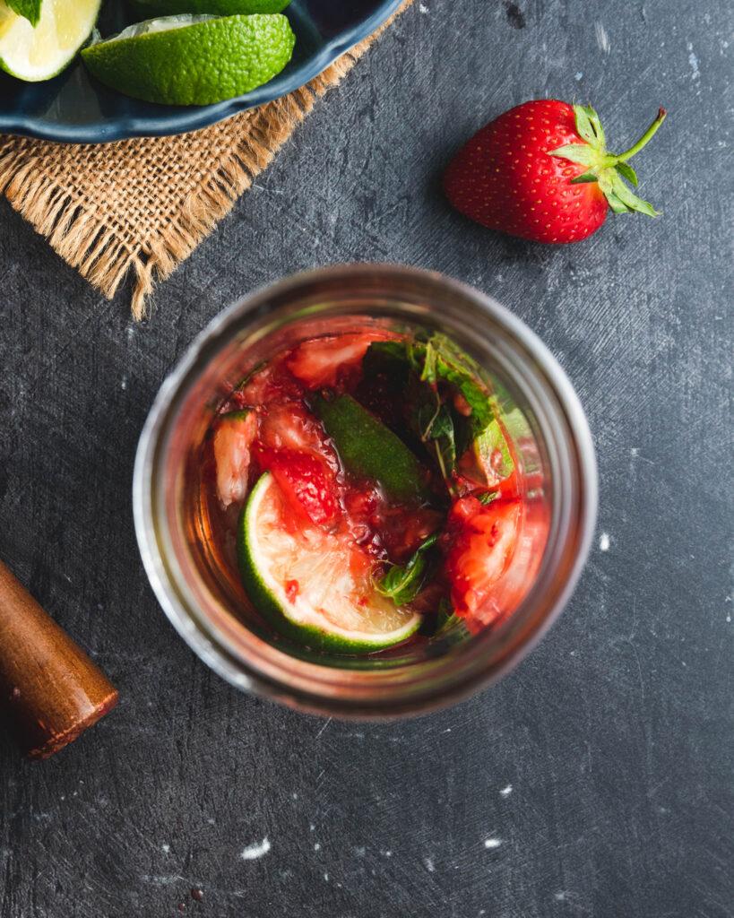 Muddled Strawberries, Mint & Lime