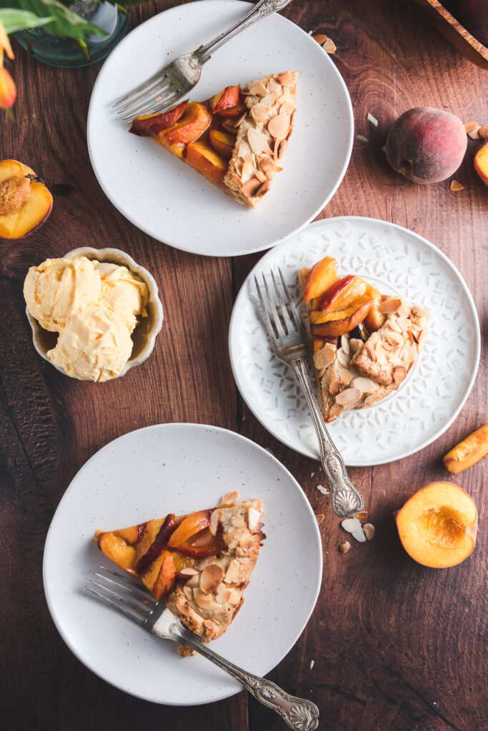 Peach Galette and Ice Cream
